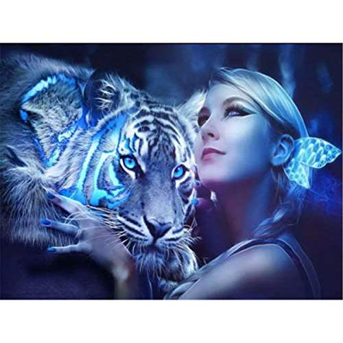 5D DIY Diamond Painting Cross Stitch Craft Kit White Tiger Woman Cross Stitch Rhinestone Wall Stickers for Living Room Decoration 40x30cm ()