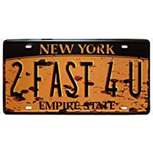 ERLOOD York 2FAST4U, Empire State, United States,Retro Vintage Auto License Plate Tin Sign Embossed Tag Size Home Pub Bar Decor 6 X 12