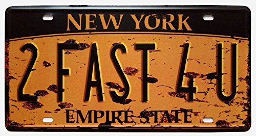 ERLOOD New York 2FAST4U, Empire State, United States,Retro Vintage Auto License Plate Tin Sign Embossed Tag Size Home Pub Bar Decor 6 X 12 ()