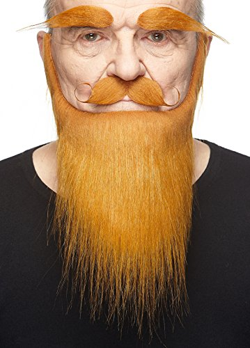 Mustaches Self Adhesive, Novelty, Fake Medieval King Beard, Eyebrows, Ginger -