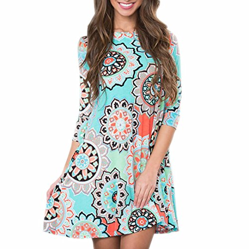 Clearance  Hmlai Womens Long Sleeve Floral Printed Casual Swing T Shirt Tunic Dress With Pockets  Blue  Xxl