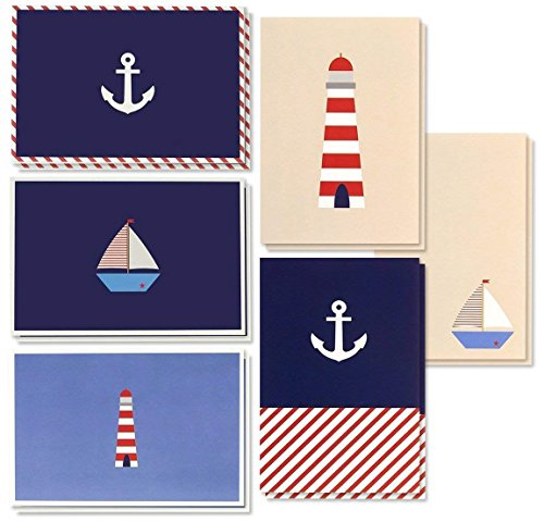 - 48 Pack All Occasion Assorted Blank Note Cards Greeting Card Bulk Box Set - Nautical Sea Theme Designs Sailboats, Anchors, Lighthouses Notecards with Envelopes Included 4 x 6 inches
