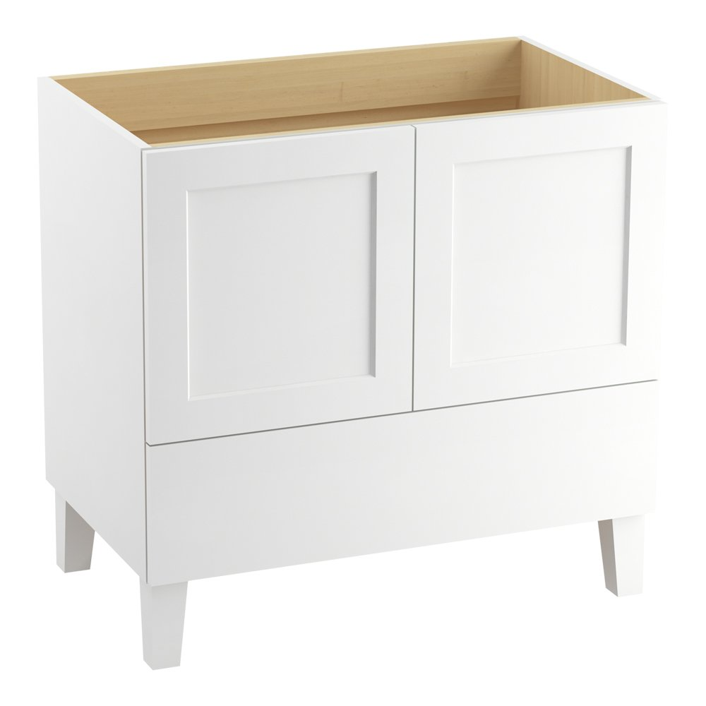 hot sale KOHLER K-99532-LG-1WA Poplin Vanity with Furniture Legs 2 Doors and 1 Drawer, 36-Inch, Linen White