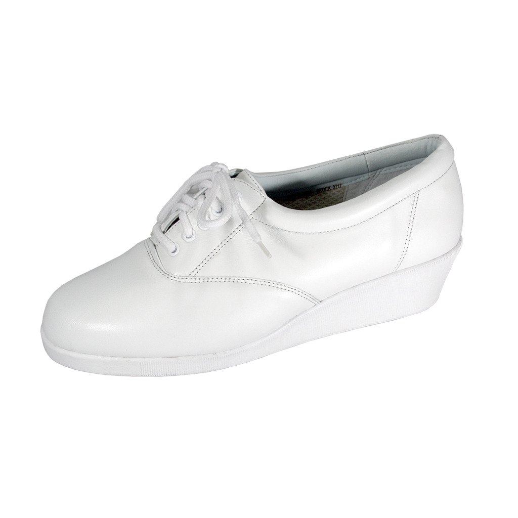 24 Hour Comfort  Helga Women Wide Width Trendy Eleganht Durable Cushioned Leather Fashion Sneakers B07F9Z48YP 6.5 E|White