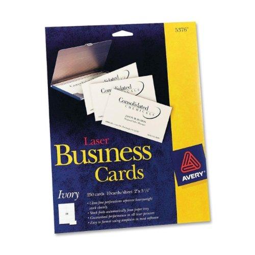 Laser Business Cards, 2 x 3 1/2, Ivory, 10 Cards/Sheet, 250/Pack Pkg Each Sheet