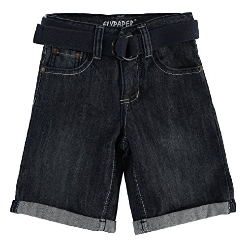 4-7X Belted Cuffed Denim Short - Dark Wash (7) (Boys Black Belted Jean Shorts)