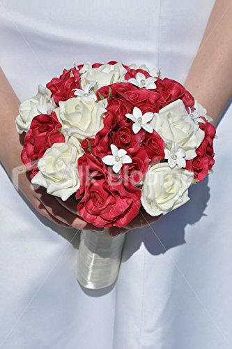 (Classic Pure White & Red 'Real Touch' Rose & Stephanotis Bridal Wedding Bouquet)