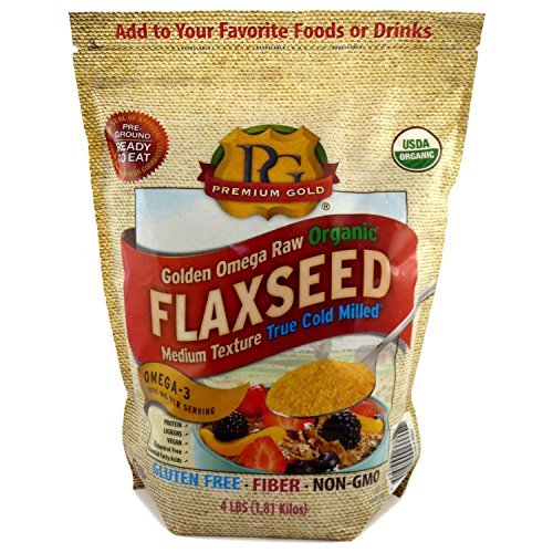 Premium Gold Organic Ground Flax Seed | High Fiber Food | Omega 3 | 4 pounds ()
