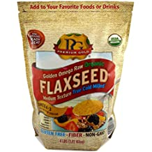 Premium Gold Golden Omega Raw Organic Flaxseed Medium Texture, 4 Pound