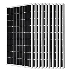 ECO-WORTHY 1KW Solar Panel - 10pcs 100 Watts 12 Volts Monocrystalline Solar PV Solar Panels