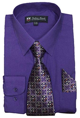 "Fortino Landi Men's Long Sleeve Dress Shirt With Matching Tie And Handkerchief (15-15.5"" Neck 34/35"" Sleeve (Medium), Purple)"