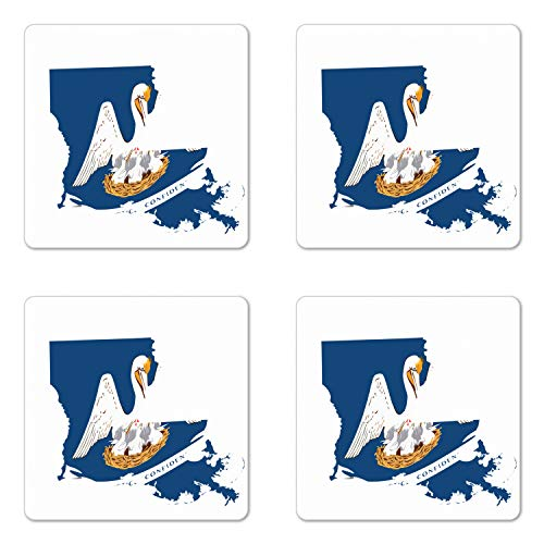 Lunarable Louisiana Coaster Set of Four, Pelican State Flag Map Union Justice Confidence, Square Hardboard Gloss Coasters for Drinks, Cobalt Blue White Pale Coffee Earth Yellow