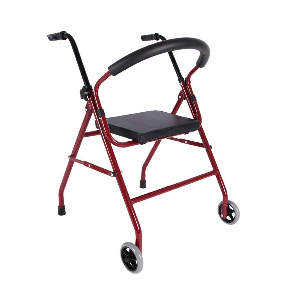 Foldable Walker,Folding Walker with Seats and Wheels Handicap Mobile Assisted Walking Frame Lightweight Non-Slip StableAdjustable Auxiliary Walking Safety Walker