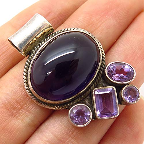 VTG 925 Sterling Silver 2-Tone Amethyst Gemstone Slide Pendant Jewelry Making Supply by Wholesale Charms