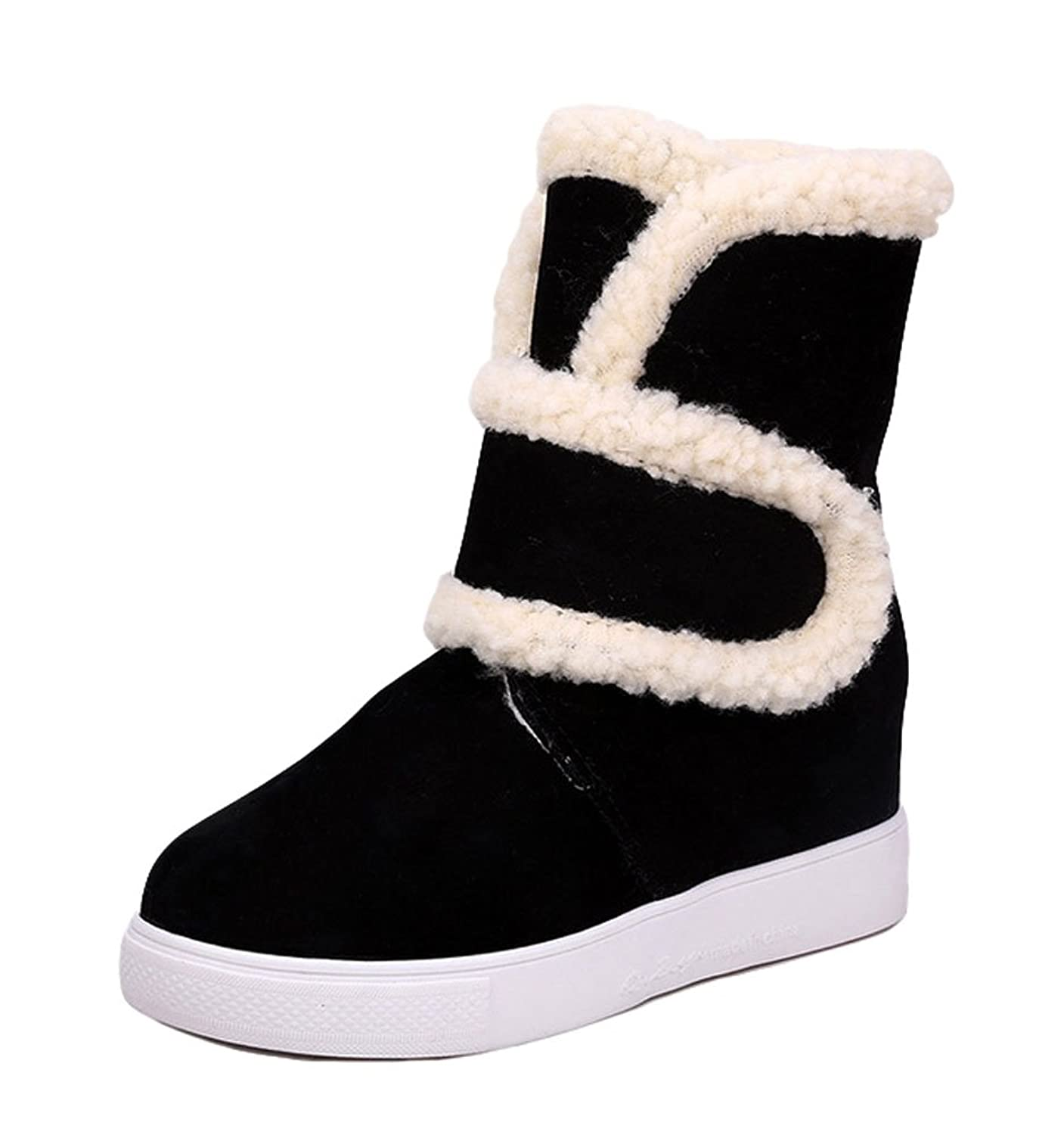 King Ma Women's Chic Velcro Fur Collar Heighten Inside Suede Ladies Snow Boots