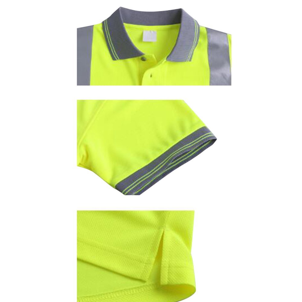 TOPTIE 50 PCS Men's Polo Shirts, Short Sleeve Safety Neon Yellow Shirt for Night Running Wholesale by TOPTIE (Image #5)