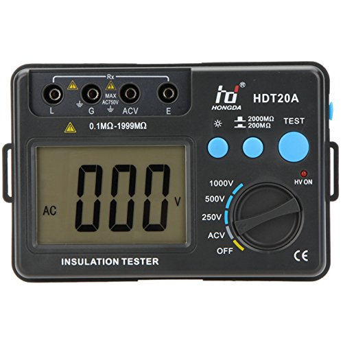 HD HDT20A Insulation Resistance Tester Megohmmeter Voltmeter Electronic Diagnostic-tool 1000V with LCD by Krittapas Intertrade