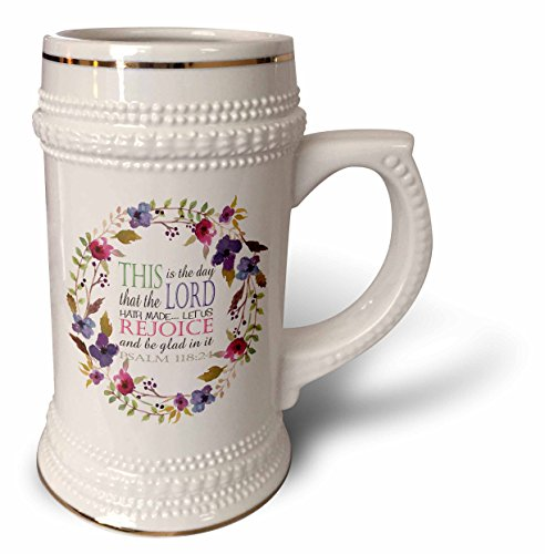 (3dRose TNMGraphics Scripture - Psalm 118 Floral Wreath This is the Day the Lord Has Made - 22oz Stein Mug)