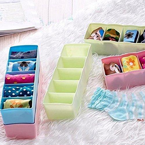 5-Grid Plastic Storage Box Closet Dresser Drawer Divider Basket Bins Cosmetic Organizer for Underwear, Bras, Socks, Ties, Scarves (Blue) by Baost (Image #3)