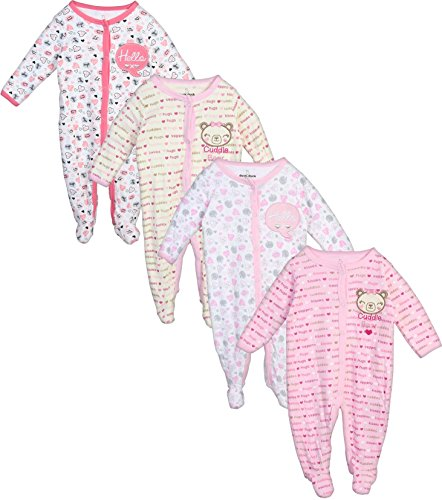 Pj Clothes Heart - Duck Duck Goose Baby Boys & Girls 4 Pack Cotton Footed Sleep and Play, Bear/Hearts, 0-3 Months'