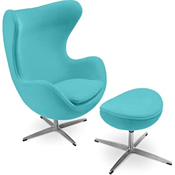 Egg Chair With Matching Ottoman   Inspired By Arne Jacobsen   Fabric    Turquoise