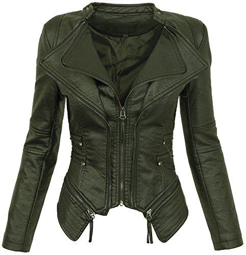 in in in in cambio per giacca effetto Verde stagione similpelle giacca giacca giacca giacca D donna Giacca il da 166 motocicilista pelle da w4dvAxRWq0