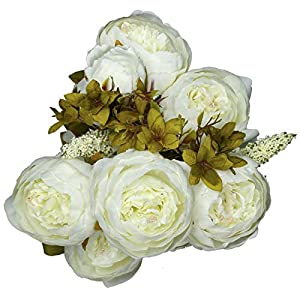 Vlovelife White Artificial Peony Flower with 13 Stems 20'' Long Fake Plastic Flowers Silk Rose Flower Home Garden Party Wedding Bouquet Centerpiece Decoration DIY Wreath Vase 45