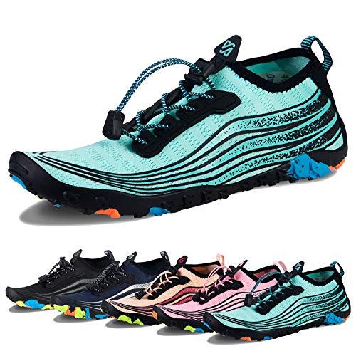 Water Shoes Mens Womens Beach Swim Shoes Quick-Dry Aqua Socks Pool Shoes for Surf Yoga Water Aerobics (I-Light Green, 39) (Pool Shoes Water)