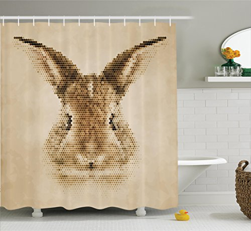 House Decor Shower Curtain Set By Ambesonne, Rabbit Portrait with Digital Geometrical Dots Points Vintage Color Bunny Face, Bathroom Accessories, 69W X 70L Inches, Light Brown