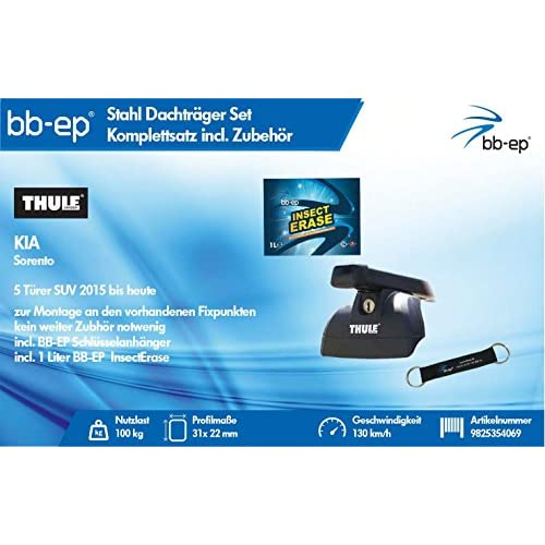 durable modeling BB EP/Thule 9825354069complet Premium en acier Barres de toit pour KIA SORENTO 5portes SUV 2015jusqu'à Aujourd'hui–Kit complet verrouillable–avec bande BB EP Cl&eac