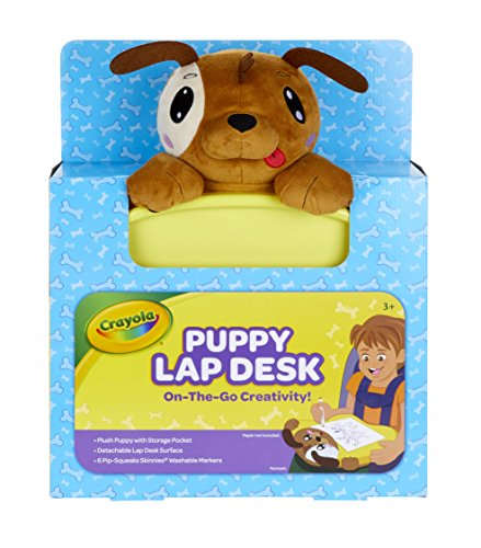 (Crayola Travel Lap Desk with Storage, Dog Plush & Markers, Gift for Kids, Age 4, 5, 6, 7)
