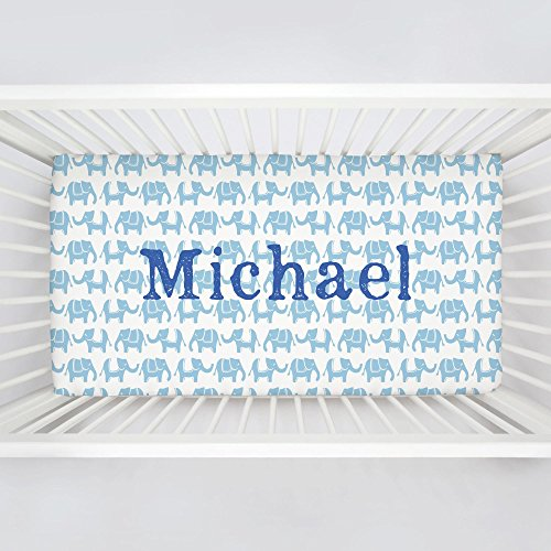 Carousel Designs Personalized Custom Lake Blue Marching Elephants Crib Sheet Michael Idea - Organic 100% Cotton Fitted Crib Sheet - Made in the (Michael Cotton Fitted Sheet)