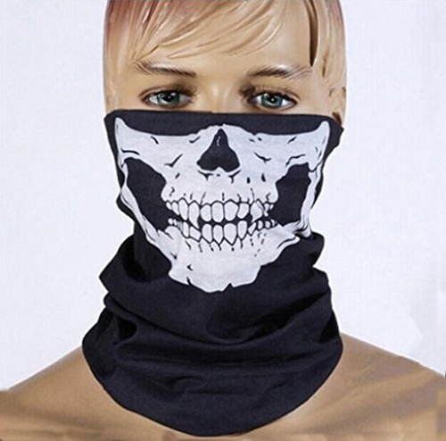 [GXG-1987 Skull Mask Bandana Headwear Scary Dust-Proof Windproof] (Halloween Skeleton Mask)