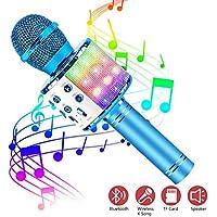 ASENTER Micrófono Inalámbrico Bluetooth Karaoke con luces LED,Infantil Portátil de mano Speaker Machine Birthday Home Party Compatible con Android/iOS/PC/AUX o Teléfono Inteligente (Azul)