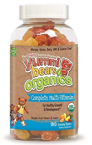 Yummi Bears Organics Gummy Vitamins, Complete Multi Vitamin and Mineral Gummy Bears, 180 Count Yummy Gummy Bear