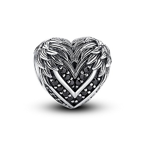 (Glamulet Black Wings Heart Charm 925 Sterling Silver Animal Bead for DIY Charms)