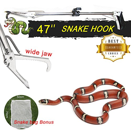 [47 inch Collapsible Snake Tongs Stainless Steel Folding self locking Reptile Grabber Foldable Claw Catcher Wide Jaw Handing Tool and Grip Handle with Snake Bag(Sliver)] (Snake Handle)