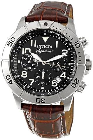 Invicta Men's 7281 Signature Chronograph Black Dial Brown Leather Watch (Invicta Watch Black Leather)