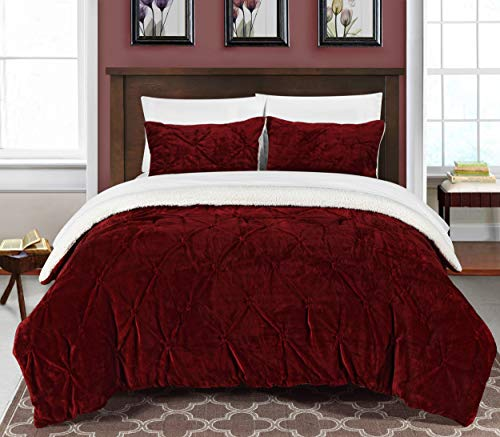 Chic Home 3 Piece Josepha Pinch Pleated Ruffled & Pintuck Sherpa Lined Comforter Set, King, Burgundy (King Sets Burgundy Size Comforter)