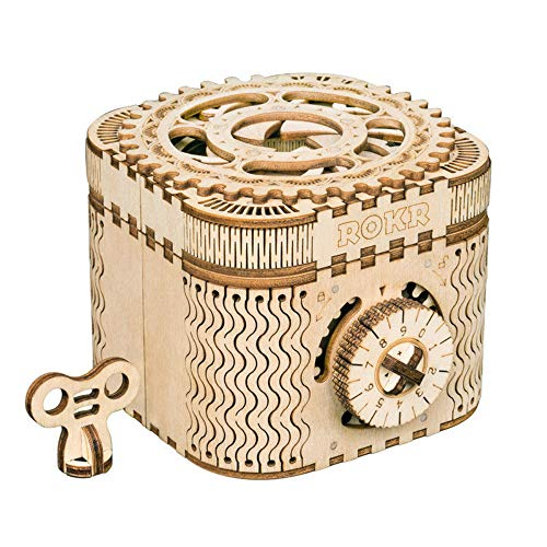 ROKR 3D Assembly Wooden Puzzle DIY Crafts Kit Fun Creative DIY Toy Treasure Box Brain Teaser Mechanical Engineering Model Building Kits Educational Toy Birthday Gift for Adults and Kids Age 14+ ()