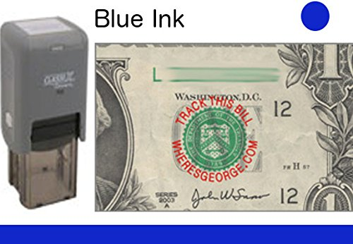 WHERE'S GEORGE? STAMP // ClassiX/Round // ClassiX PO2 Self-Inking WG Stamp With Classic Style Lettering // Stamp Lets Bill Handlers Know To TRACK THIS BILL [BLUE INK] - Federal Reserve Note Blue Seal