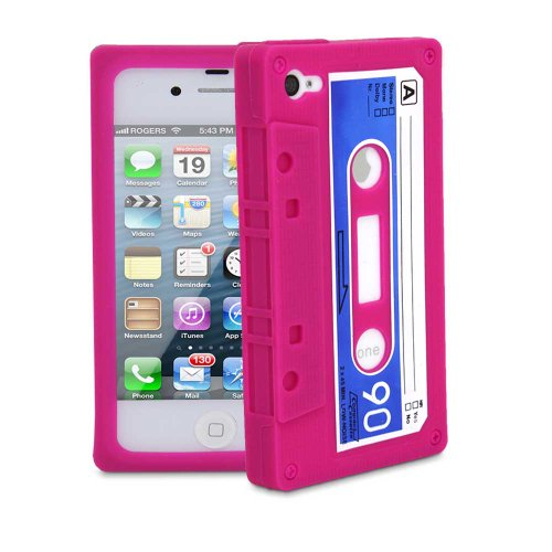 Fosmon Premium Silicone Cassette Tape Skin Case for the iPhone 4G/4S - Pink