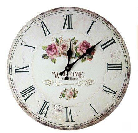 Cheap 13.5″ Rose Wall Clock,retro French wood clock,Silent Wood Wall Clock