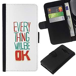 KLONGSHOP // Tirón de la caja Cartera de cuero con ranuras para tarjetas - Todo va a estar bien blanca feliz - Samsung Galaxy Core Prime //