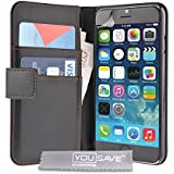 Yousave Accessories iPhone 6S Case Black PU Leather Wallet Cover