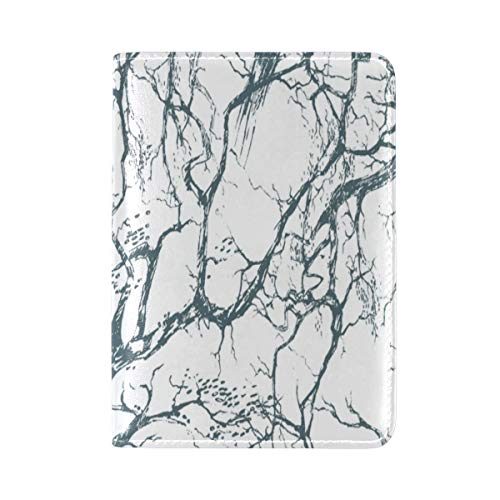 Passport Cover Case Sly Dark Forest Spooky Branch Nature Halloween Gray Black Horror Atmosphere Leatherµfiber Multi Purpose Print Passport Holder Travel Wallet For Women And Men 5.51x3.94 In]()