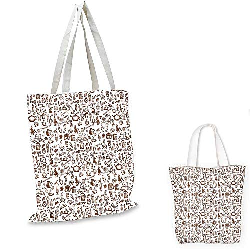 (Coffee non woven shopping bag Cool Drink Coffee Time Americano Mocha Espresso Heart Banner Cakes Cups Monochrome sloth shopping bag Brown White.)