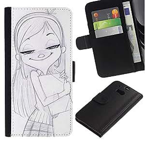 LASTONE PHONE CASE / Lujo Billetera de Cuero Caso del tirón Titular de la tarjeta Flip Carcasa Funda para HTC One M8 / Girl School Drawing Pencil Art Blonde