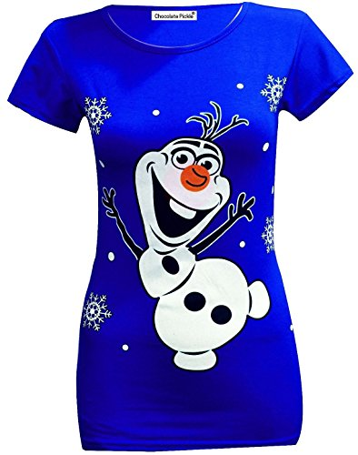 New Frozen Dresses (Chocolate Pickle New Ladies Plus Size Christmas Xmas Festive Slim Fit Gift Glitter Print T Shirt Top Royal Blue Olaf Frozen 16-18)
