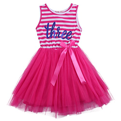 IBTOM CASTLE Baby Girls 1st/2nd Birthday Cake Smash Crown Princess Outfit Striped Shiny Printed Party Tulle Tutu Kids Dress (One Size, Rose (Three (Pink Tutu Dress)